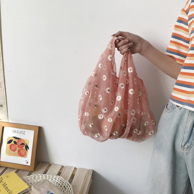 2020 Spring Women Small Transparent Tote Mesh Cloth Bag