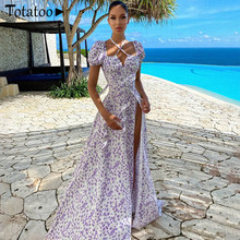 Totatop Floral Print Beach Boho Long Dress For Women 2021 Puff Sleeve High Split A Line Purple Maxi Dress Holiday Party Vestidos
