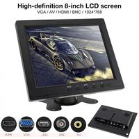 8 Inch Monitor HD TFT LCD Color Monitor Mini TV Computer 2 Channel Video Input Security Monitor Speaker VGA HDMI for Car