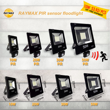 PIR sensor led floodlight 10w out door lighting 100w spotlight outdoor reflector 50w projector flood light 220v