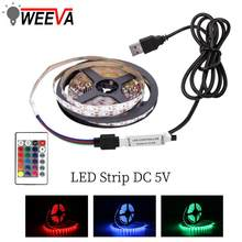 USB Mini 3key LED tira de 5V de luz Flexible 60LEDs 50CM 1M 2M 3M 4M 5M SMD 2835 Pantalla de decoración de escritorio TV iluminación de fondo(China)