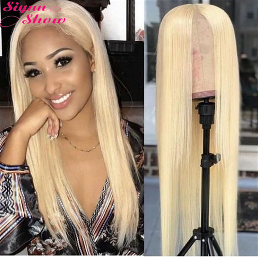 Siyun Show Blonde 613 Lace Front Wig Straight 613 Wig Frontal Remy Glueless Full Lace Front Human Hair Wigs For Women No Shed image