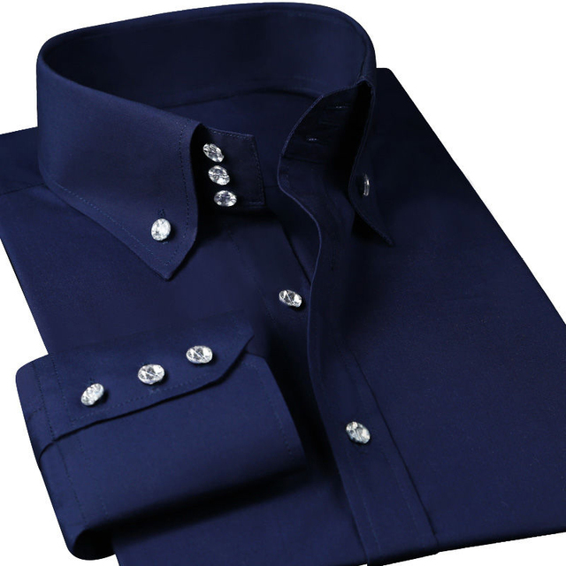 Casual Diamond Buttons Men's Dress Shirt Long Sleeve Black Luxury Business Silk Slim Fit High Collar Stage Western Blouse 2