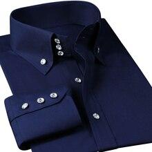 גברים של חולצה שמלה ארוך שרוול יוקרה כפתור עד משי כותנה חולצת Slim Fit מערבי יד תפירת אופנה מקרית עיצוב