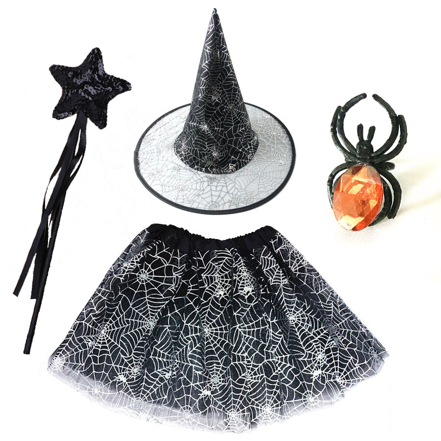 Spider Web Tutu Cobweb Skirt Witch Wizard Hat Suit Clothes Birthday Party Outfits Carnival Halloween Costume for Kids Girls