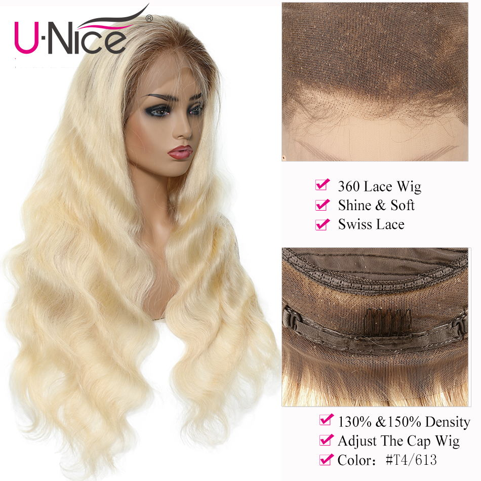 Unice Hair 360 Lace Front Human Hair Wigs 12-22 Inch Brazilian Body Wave Wigs T4613 Remy Hair Wigs For Black Women