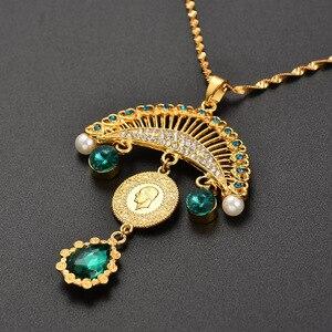 Image 4 - Collar con colgante turco islámico musulmán para mujer, joyas con monedas de cristal, estilo étnico árabe, Oriente Medio