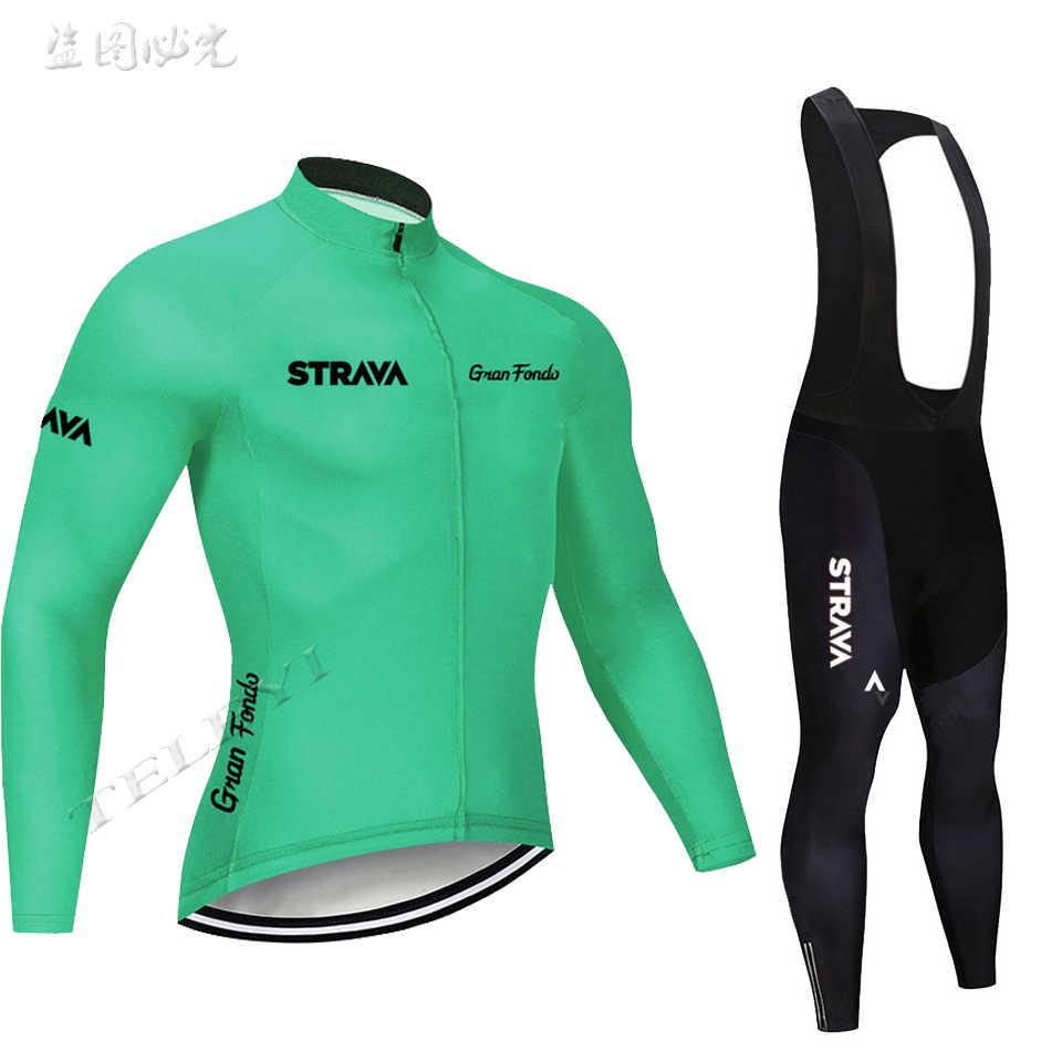 2019 Strava Mannen Fietsen Kleding Ropa Ciclismo Fiets Jersey Set Lange Mouw Fietsen Jersey Gel Pad Fiets Bib Broek Sui