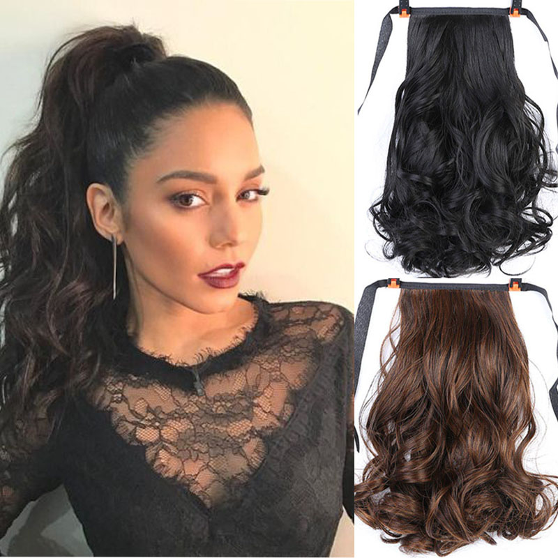 AOOSOO 12inch Long Curly Clip In Hair Tail False Hair Ponytail Hairpiece With Hairpins Synthetic Hair PonyTail Hair Extension