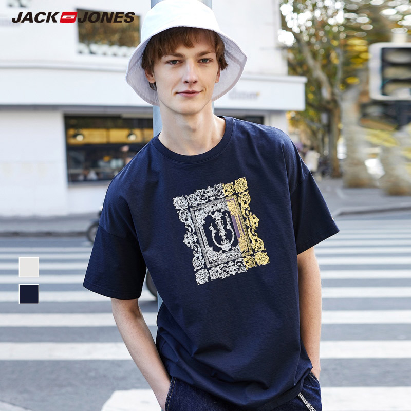 JackJones Men's Cotton Colored Pattern Round Neckline Short-sleeved T-shirt Streetwear| 220101542