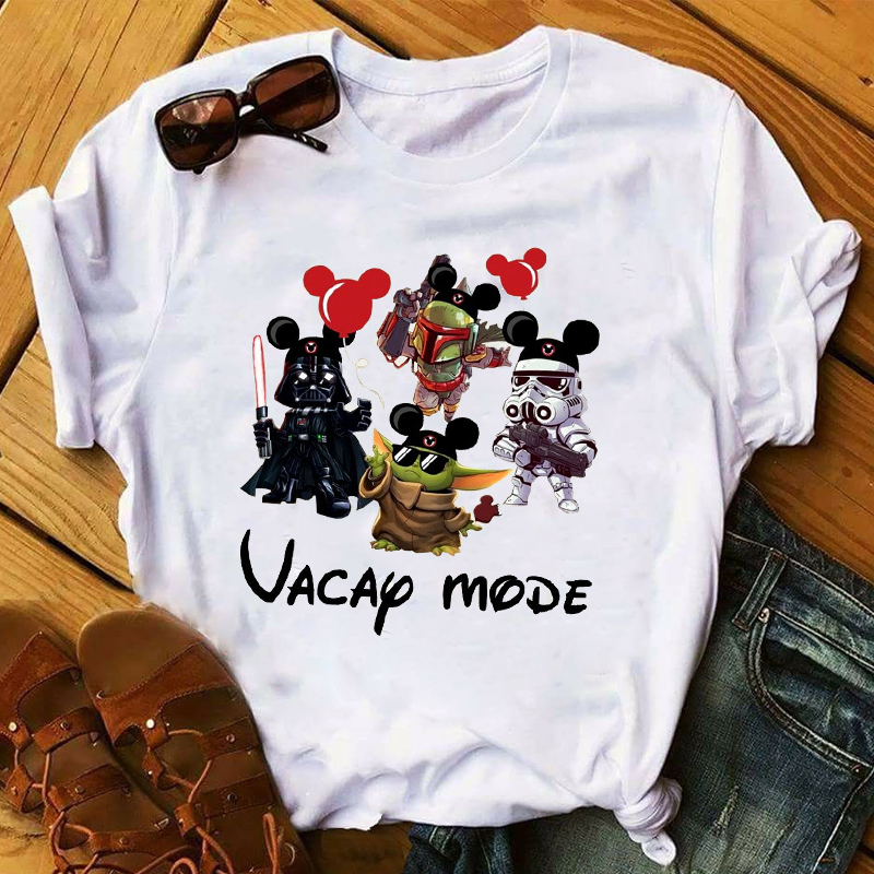 Women 2020 Cartoon Star Wars Baby Yoda Vacay Mode Ear Holiday Tops Clothes Graphic Tshirts Shirt Tee Top T Female Womens T-Shirt