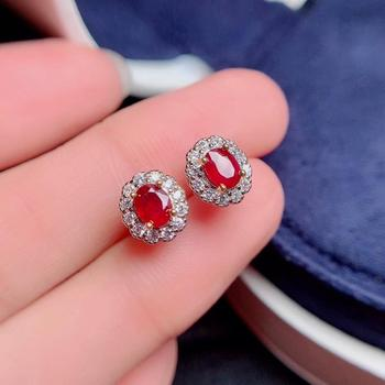 exquisite red ruby gemstone stud earrings for women silver ornament girl birthday party anniversary engagement gift natural gem