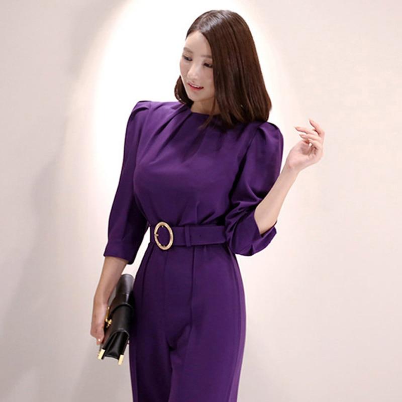 Fashion Women New Arrival Casual Comfortable Purple Jumpsuit Vintage Work Style Temperament High Quality Elegant Cute Romper