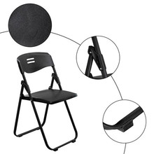 5pcs Office Conference Plastic Folding Chair Black