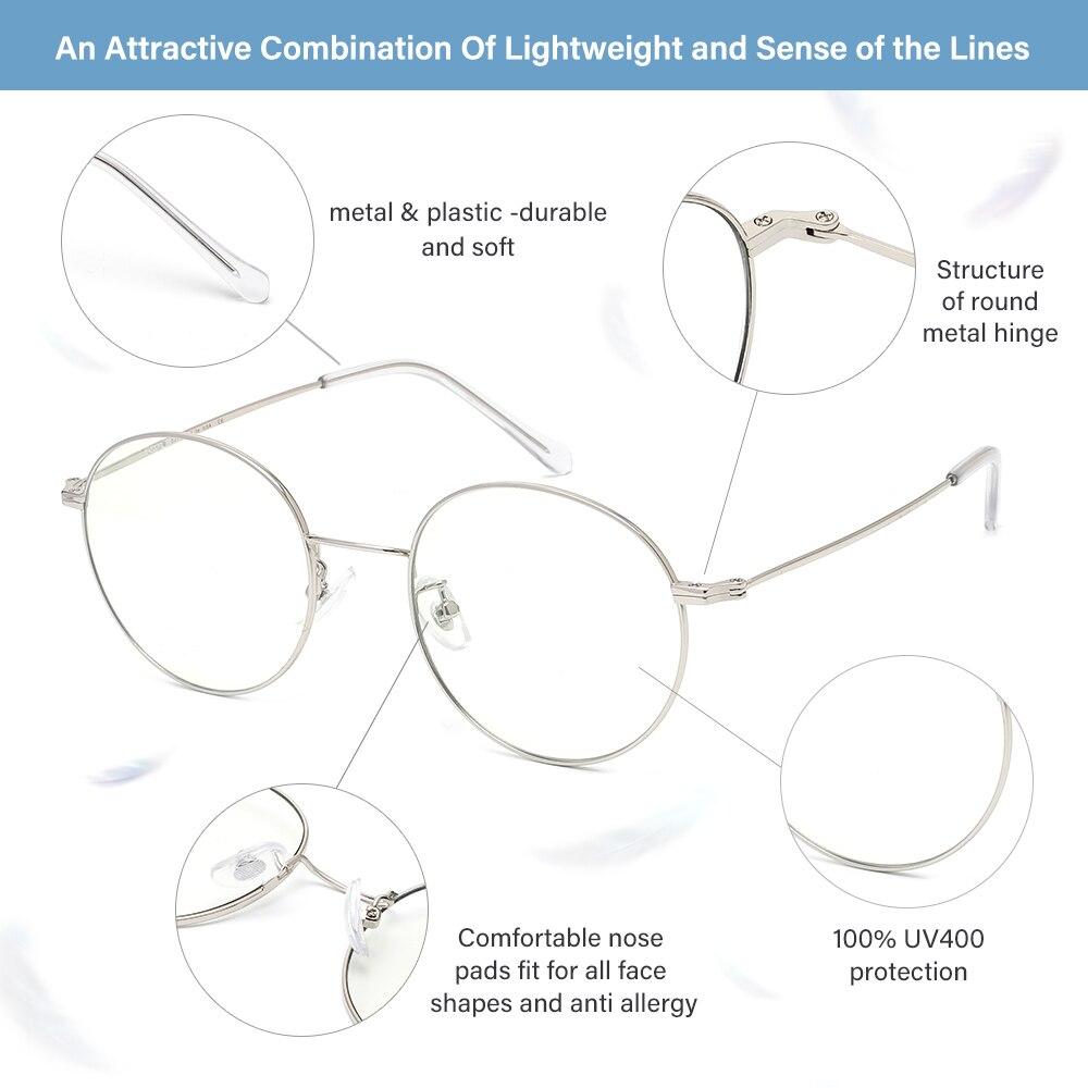 Image 4 - Cyxus Blue Light Blocking Computer Glasses Anti Eye Strain UV Protection Korean Round Metal Frame Gaming Men/Women Eyewear 8090Womens Blue Light Blocking Glasses   -