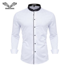 Brand 2018 White Men's Tuxedo Shirts Long Sleeve Men's Wedding White Shirt Classic Fit Dress Shirt Men All Size XS-4XL N5143(China)
