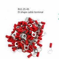 50pcs RV 1.25-4S terminale connettore del cavo di rame O-forma spremitura A Freddo terminale connettore per cavo filo