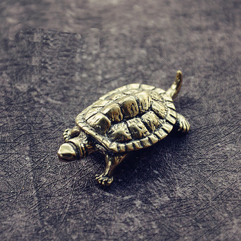 Mini Cute Brass Tortoise Vintage Turtle Statue Metal Figure Props Animal Sculpture Home Office Desk Decorative Ornament Toy Gift