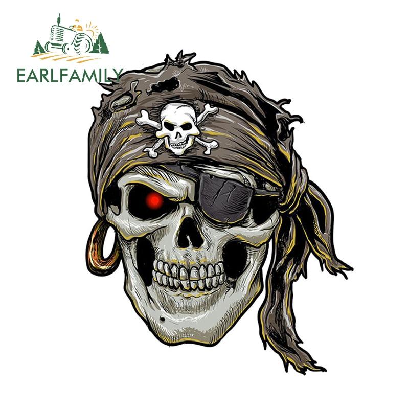 EARLFAMILY 13cm x 10.77cm Cool Car Accessories Stylish Pirate Skull Decal Motorcycle Helmet Car Stickers Window Bumper Vinyl