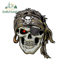 EARLFAMILY 13cm x 10.77cm Cool Car Accessories Stylish Pirate Skull Decal Motorcycle Helmet Stickers Window Bumper Vinyl