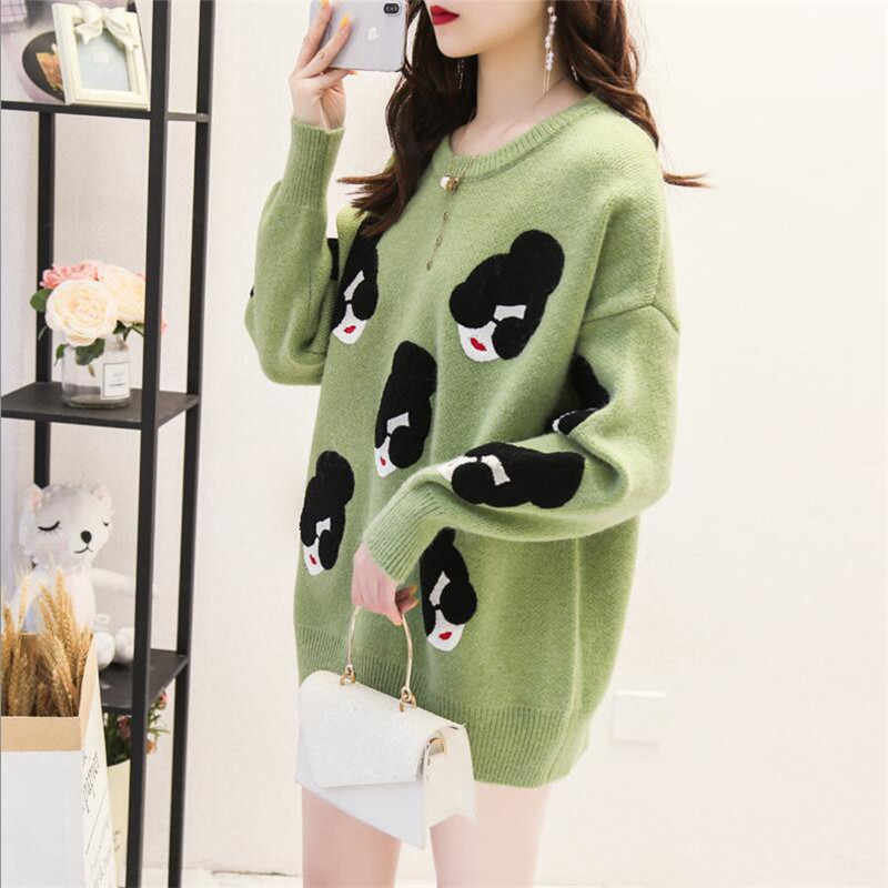 Swetry damskie i swetry zimowe ciepłe dzianiny wełniany, długi swetry koreańska tunika luźne bluzy z długim rękawem Sexy świąteczne topy