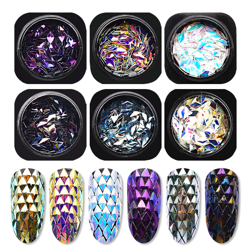 6 Box Chameleon AB Gradient Nail Sequins Nail Accessories Rhombus Iridescent Flakes Glitter 3D Nail Art Decorations SF3082-in Nail Glitter from Beauty & Health