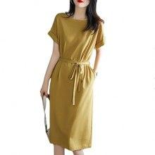 Básicos de encaje-sólido con bolsillo vestido de mujer Primavera Verano 2021 nuevo suelta gran tamaño de cintura delgada elegante vestidos casuales vestidos de las mujeres