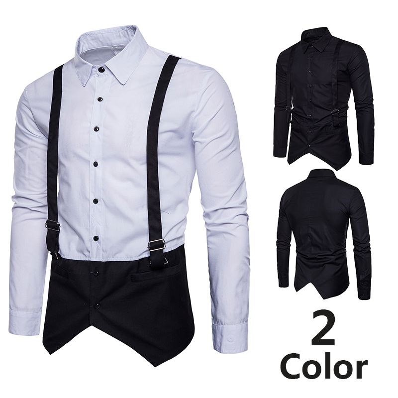 Hot Selling Ouma High Quality Fashion Fake Two-Piece Waistcoat Suspender Strap MEN'S Long-sleeved Shirt Korean-style Mixed Color