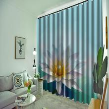 3d curtains new window balcony thickened windshield blackout blue background white flower