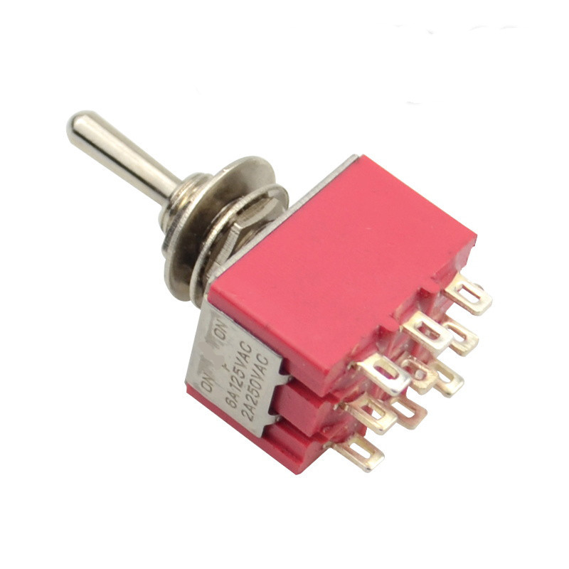 Red Mini MTS-302 6mm 9 Pin 2 Position ON/ON 5A/125VAC 2A/250VAC Toggle Switch