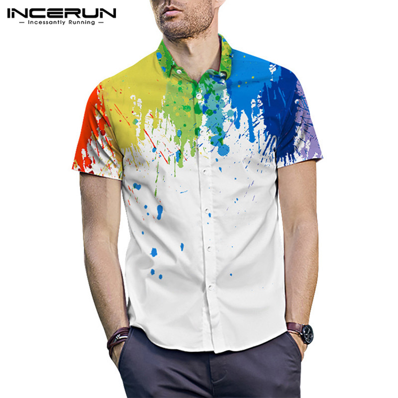 2020 Men Business Shirt Splashed Ink Print Button Lapel Short Sleeve Blouse Breathabel Casual Brand Shirt Men INCERUN Streetwear