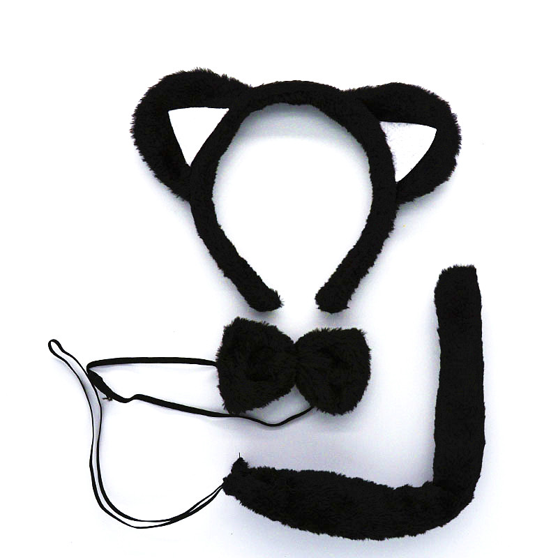 Women Girls Boy Headband Tail Tie Black Lovely Fox Cat Animal Ear Birthday Party Gift Carnival Halloween Clothes Accessories