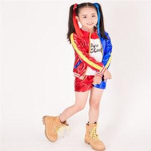 Image 2 - 3 Chiếc Nóng Nữ Harley Quinn Áo Thun Tee Của Bố Lil Quái Vật Tự Sát Đội Hình Trang Phục Cosplay Halloween Cotton Quần Áo Cho trẻ Em