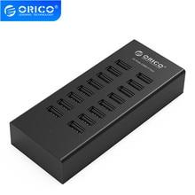 ORICO H1613 USB HUB 16 portów USB2.0 Hub z 12V2A zasilacz dla Apple Macbook Laptop Tablet PC czarny