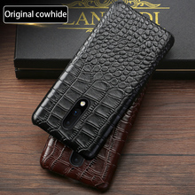 Genuine leather Phone Case For Oneplus 6 6T 7 7 Pro Natural Cowhide Luxury Crocodile Texture Back Cover fundas capa