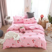 4pcs Red cherry Bedsheet Set Winter Four Pieces One Quilt Cover One Bed Sheet Two Pillowcases Bed Linen King Size Bedding Set(China)