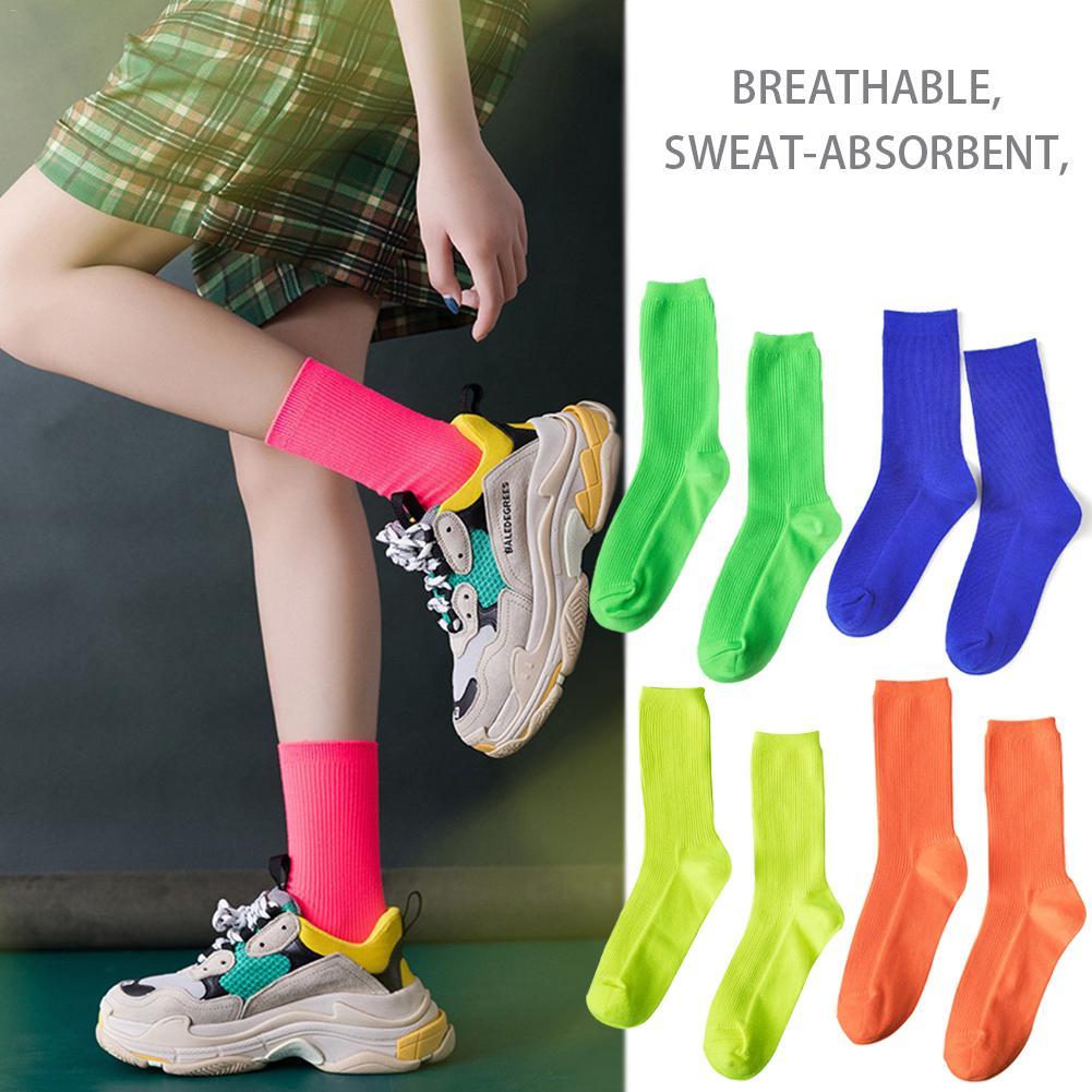 Cotton Harajuku Hip Hop Street Cool Girls Socks Women Men Fashion Bright Neon Socks Fluorescent Candy Color Unisex Heap Socks