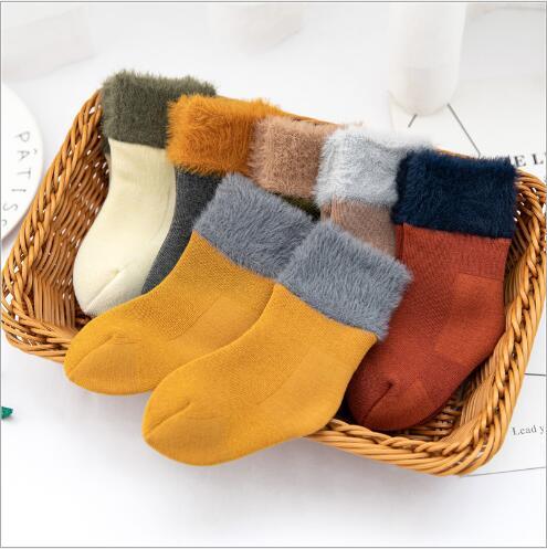 Winter new thickening baby snow socks velvet warm children's socks plus velvet comfortable baby socks footwear 4