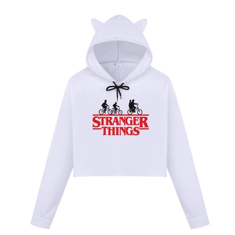 Stranger Things Crop Top Sweatshirt Vintage Style Graphic Hoodies Women Print Sweatshirt Fashion Lady Dreamy Tops Cropped Hoodie
