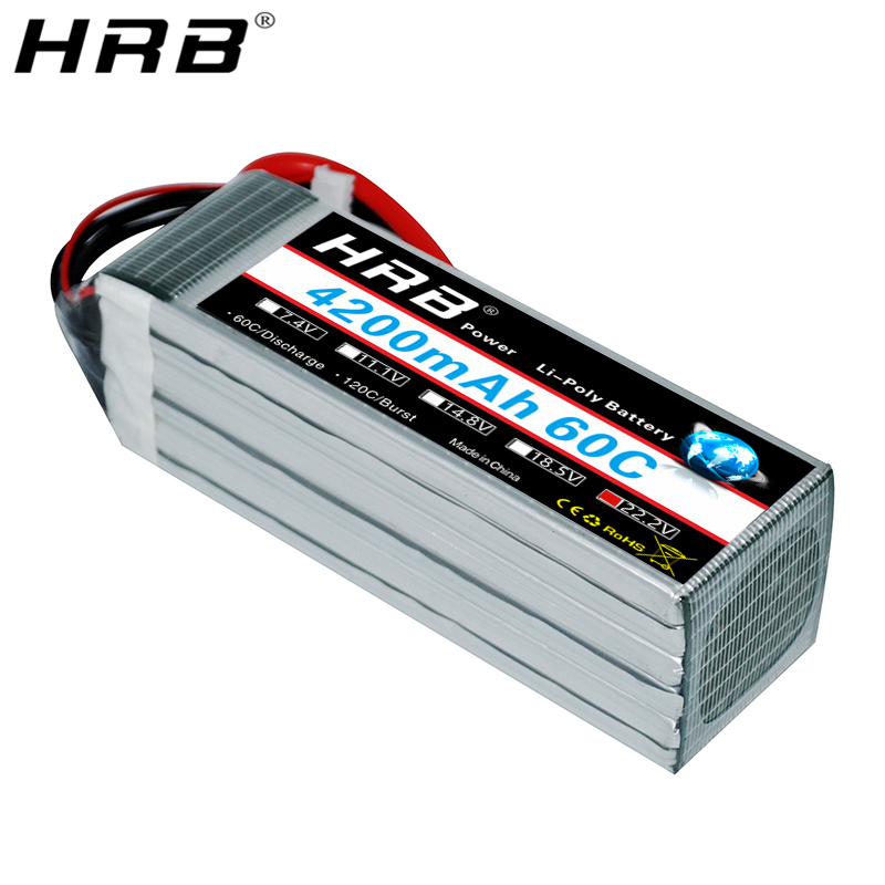 HRB 6S 22.2V Lipo Battery 4200mah XT60 T Deans EC5 XT90 XT90-S AS150 XT150 TRX For Racing Airplanes Car Truck Boat RC Parts 60C