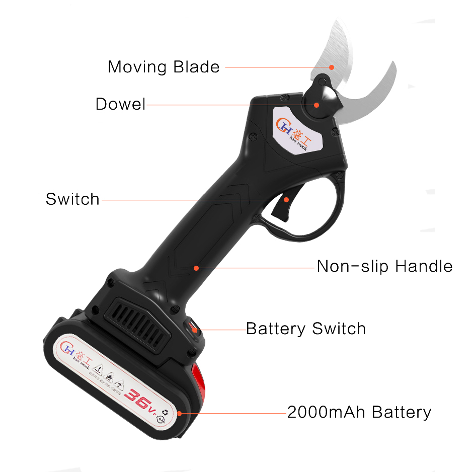 Pruning Electric Tool Fruit 600W Cordless Cutter Garden Pruner 2000mAh Electric 36VF Shears Rechargeable Pruning Secateur Branch
