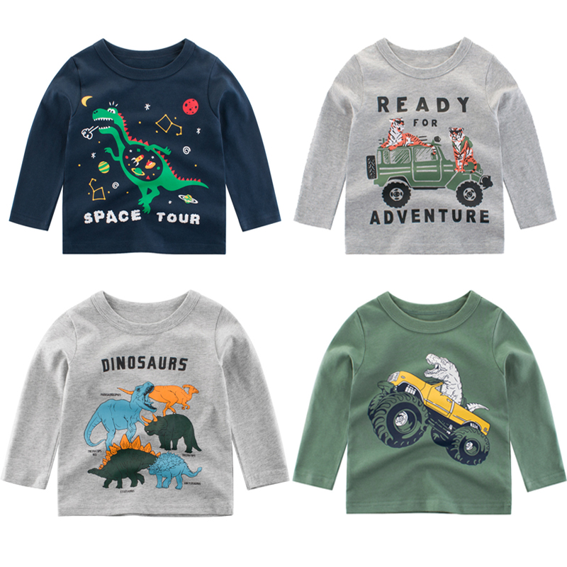 Boys Shirts Long-Sleeve Autumn Kids Cotton Fashion Children