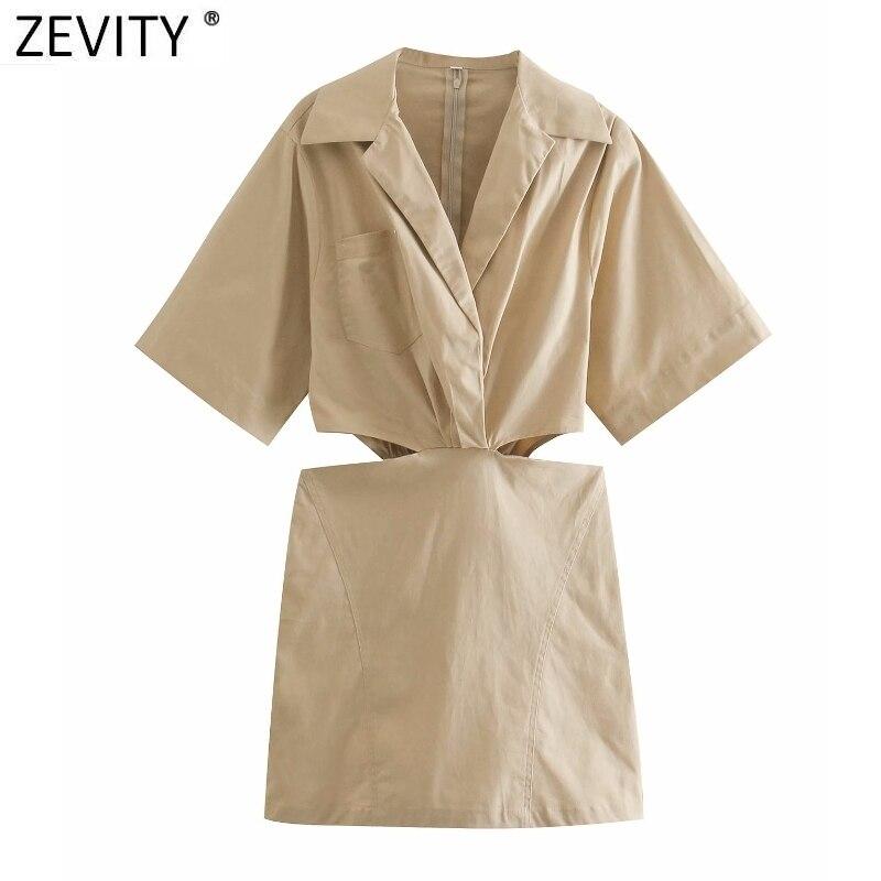 Женское пикантное Деловое платье-рубашка Zevity 2021 с разрезом на талии и отложным воротником, женское шикарное повседневное мини-платье на мол...