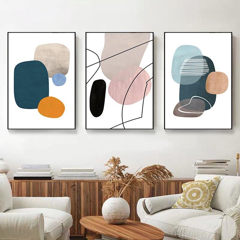 Настенная живопись абстрактных цветов, настенная Картина на холсте, постеры и принты в скандинавском стиле, комбинированные Геометрические линии, настенные картины для декора комнаты