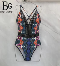 Baogarret 2019 Sexy Hollow Out Embroidery Playsuit Womens Retro Print Summer Beach Vacation Bikini Overall Bodysuits
