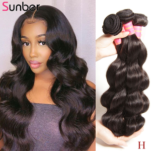 Image 1 - SUNBER HAIR Peruvian Body Wave Human Hair Bundles Can Be Dyed Natural  High Ratio Remy  Hair 3pcs/lot Double Weft Free Shipping