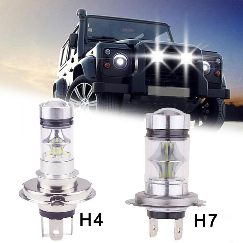 Una Sola Auto LED Ad Alta Potenza Nebbia Luce H7 H4 100W 20LED 3030 LED Lampadina Nebbia