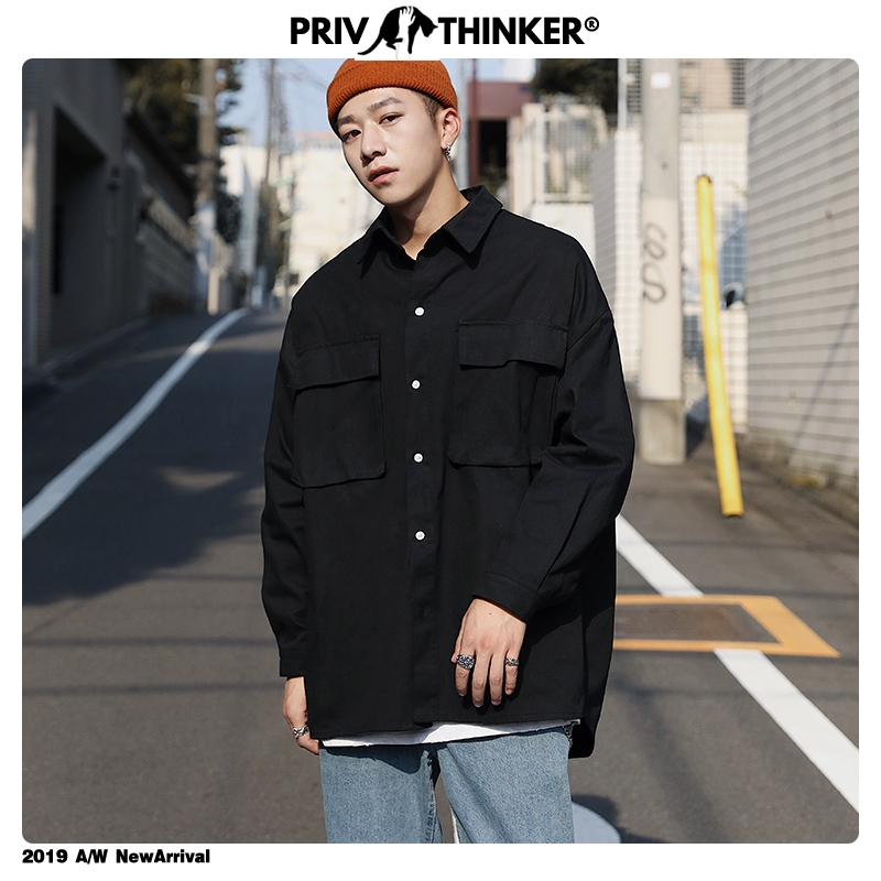 Privathinker Men Safati Style Big Pockets Shirts Streetwear 2019 Mens Streetwear Shirts Male Autumn Korean Clothes Shirt Autumn