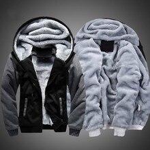 남성 후드 겨울 따뜻한 자 켓 패션 두꺼운 남자 후드 티 셔츠 남성 따뜻한 모피 스포츠 Tracksuits 망 코트 S 5XL 크기