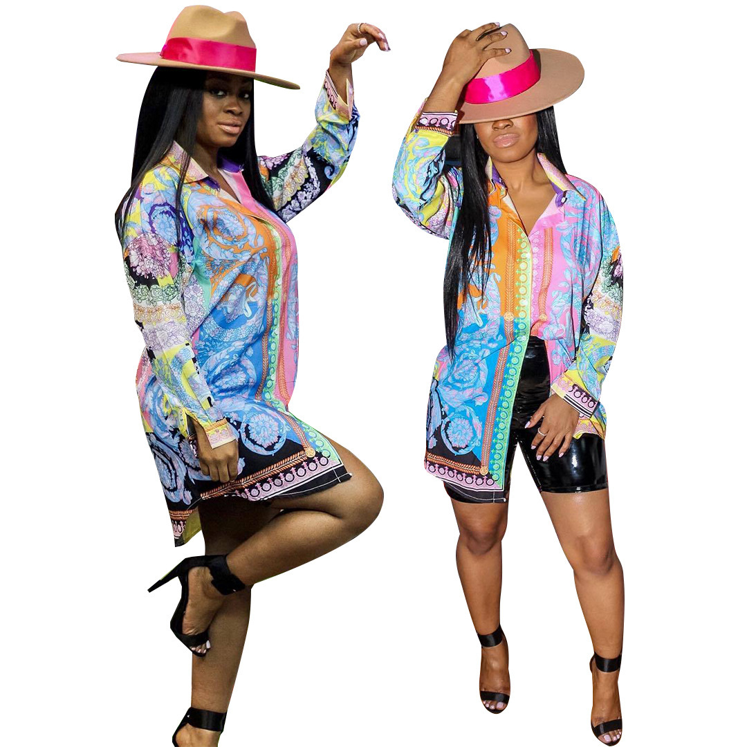2019 African Women's Clothing Fashion Sexy Spring Summer Clothing Dashky New Print Nightclub Style One-piece Shirt